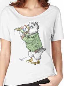 Grunge penguin taking an ice cool break. Women's Relaxed Fit T-Shirt