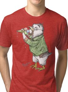 Grunge penguin taking an ice cool break. Tri-blend T-Shirt