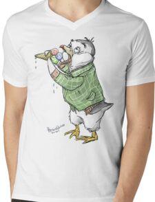 Grunge penguin taking an ice cool break. Mens V-Neck T-Shirt