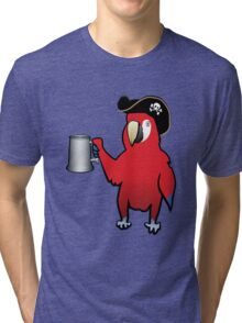 Red Pirate Parrot with a tankard Tri-blend T-Shirt