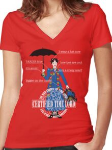 Mary Poppins is a Time Lord Women's Fitted V-Neck T-Shirt