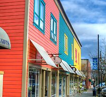 Colorful store fronts by Trish  Hooker