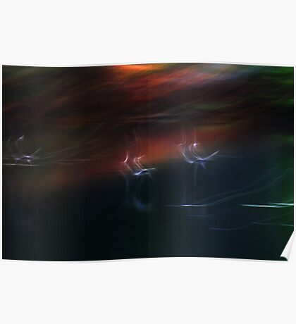 Abstract Ducks Over Black Waters Poster