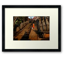 Monk Sweeping the Dragon Stairs Framed Print