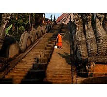 Monk Sweeping the Dragon Stairs Photographic Print