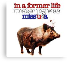 In a former life, Mister Pig was Miss USA Canvas Print