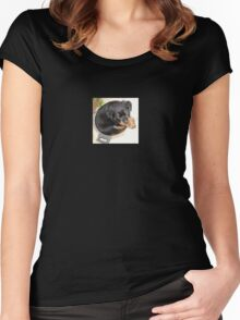 Female Rottweiler Puppy Curled In A Food Bowl Women's Fitted Scoop T-Shirt