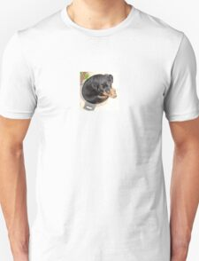 Female Rottweiler Puppy Curled In A Food Bowl Unisex T-Shirt
