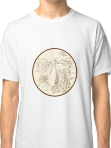 Olive Oil Jar Cheese Tuscan Countryside Etching Classic T-Shirt
