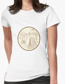 Olive Oil Jar Cheese Tuscan Countryside Etching Womens Fitted T-Shirt