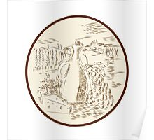 Olive Oil Jar Cheese Tuscan Countryside Etching Poster