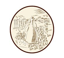 Olive Oil Jar Cheese Tuscan Countryside Etching Photographic Print