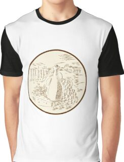 Olive Oil Jar Cheese Tuscan Countryside Etching Graphic T-Shirt