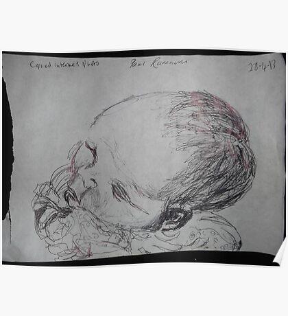 Female Baby Head -(280413)- A5 sketchbook white/Black biro pen Poster