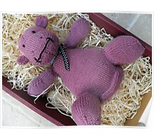 Knitted Pink Hippo Calf Poster