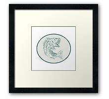 Largemouth Bass Fish Oval Etching Framed Print