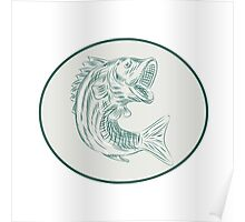 Largemouth Bass Fish Oval Etching Poster
