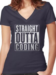 Straight Outta Coding Women's Fitted V-Neck T-Shirt