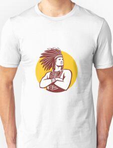 Native American Indian Chief Warrior Circle Retro T-Shirt