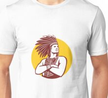 Native American Indian Chief Warrior Circle Retro Unisex T-Shirt