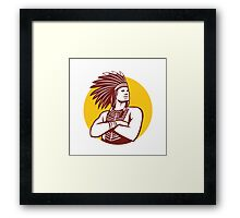 Native American Indian Chief Warrior Circle Retro Framed Print
