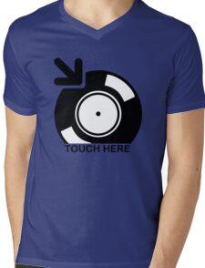 Vinyl Touch Here Mens V-Neck T-Shirt