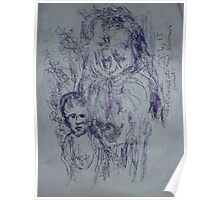 Kollwitz copy/Hunger(1 of 4) -(280413)- A4 sketchbook white/blue biro pen Poster