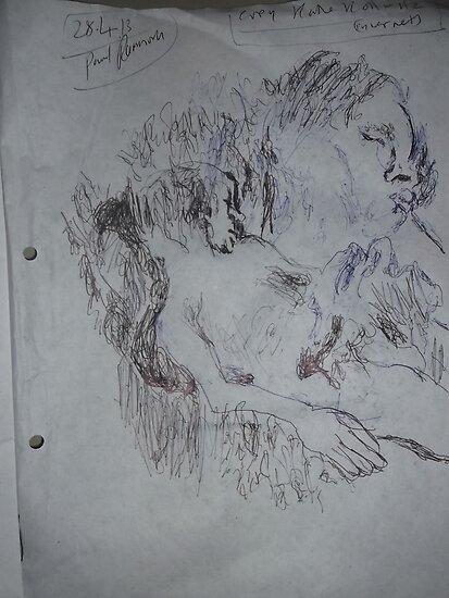 Kollwitz copy/Death (2 of 4) -(280413)- A4 sketchbook white/blue biro pen by paulramnora