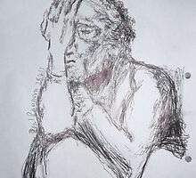 Kollwitz Copy/self-portrait (3 of 4) -(280413)- A4 sketchbook white/blue biro pen by paulramnora