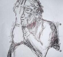 Kollwitz Copy/self-portrait (3 of 4) -(280413)- A4 sketchbook white/blue biro pen by paulramnora