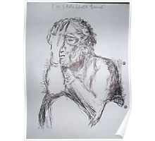 Kollwitz Copy/self-portrait (3 of 4) -(280413)- A4 sketchbook white/blue biro pen Poster