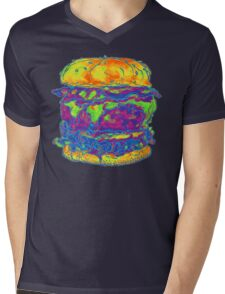 Neon Bacon Cheeseburger Mens V-Neck T-Shirt