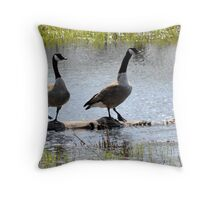 Log Rolling Contest Throw Pillow