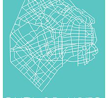 Buenos Aires Map - Teal by AwayLaughing