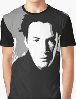Keanu Reeves in the Matrix, Grey Color Graphic T-Shirt