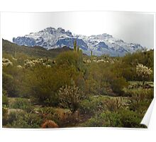 Snow on Superstition Mountain  AZ Poster