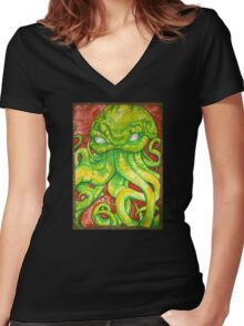 Cthulhu Painting on Wood Women's Fitted V-Neck T-Shirt