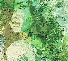 green illustrated girl by 19lucy