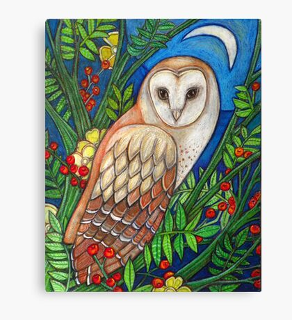 White Heart (Portrait of a Barn Owl) Canvas Print