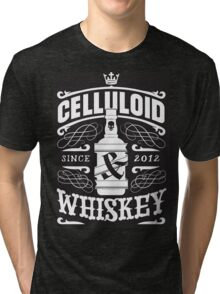 Celluloid And Whiskey - White On Black Tri-blend T-Shirt