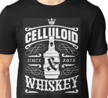 Celluloid And Whiskey - White On Black Unisex T-Shirt