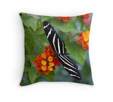 A Zebra Longwing on Lantana  Throw Pillow