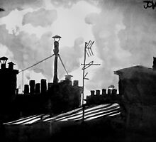 paris roofs with cat and moon by Loui  Jover