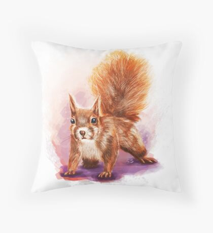 Squirrel  - Digital Painting by Tom Lopez Throw Pillow