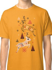 Holiday Folk in Pink Peppermint  Classic T-Shirt