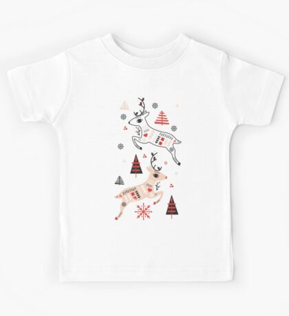 Holiday Folk in Pink Peppermint  Kids Tee