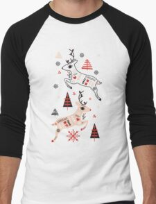Holiday Folk in Pink Peppermint  Men's Baseball ¾ T-Shirt