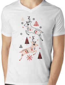 Holiday Folk in Pink Peppermint  Mens V-Neck T-Shirt