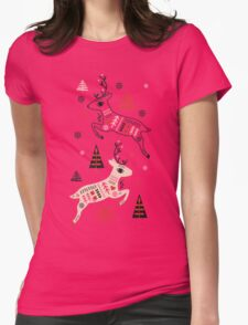 Holiday Folk in Pink Peppermint  Womens Fitted T-Shirt