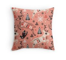 Holiday Folk in Pink Peppermint  Throw Pillow